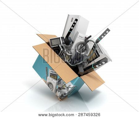 Concept Of Product Categories Large Household Appliances Crashes Out Of The Box 3d Render On White