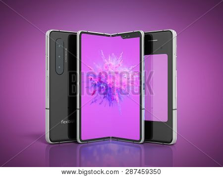 First Serial Flexible Phone 3d Render On Color Background