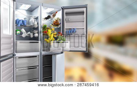 Open Stainless Steel Modern Refrigerator On Sale Background 3d Illustration