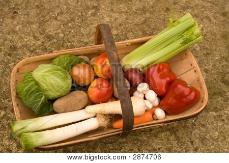 colorful harvest of vegetables in traditional Sussex Trug poster