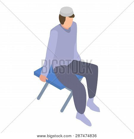 Homeless muslim migrant man icon. Isometric of homeless muslim migrant man icon for web design isolated on white background poster