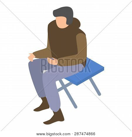 Migrant man on camp chair icon. Isometric of migrant man on camp chair icon for web design isolated on white background poster