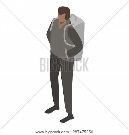 Man migrant with backpack icon. Isometric of man migrant with backpack icon for web design isolated on white background poster