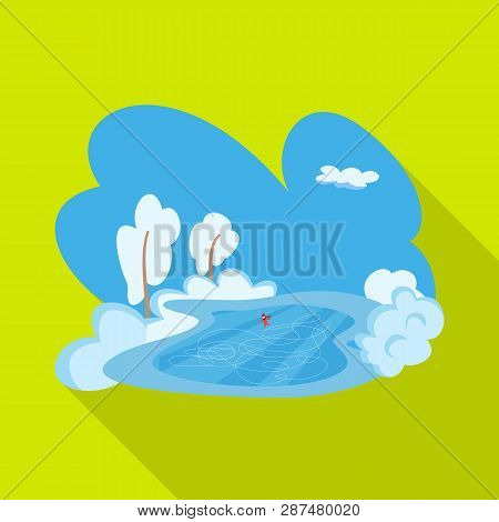 Vector Illustration Of Pond  And Ice Sign. Collection Of Pond  And Winter Stock Symbol For Web.