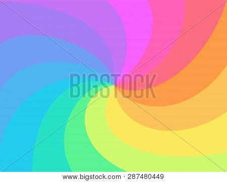 Rainbow Swirl Background. Rainbows Rays Of Twisted Spiral. Vortex Starburst Or Sunburst Twirl. Fun M