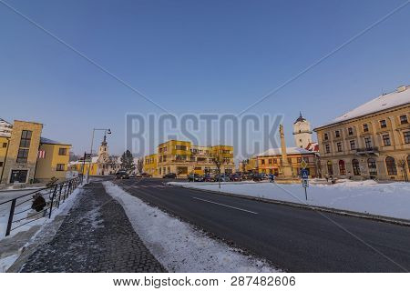 Square In East Slovakia Spisske Podhradie Town In Winter Frosty Sunny Morning