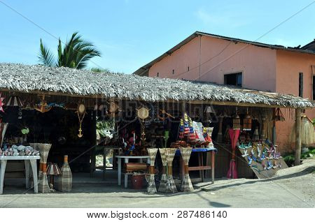 Shops on the road of Route of the Sun (Ruta Del Sol) in Ecuador, Manabi district - 25 May, 2017