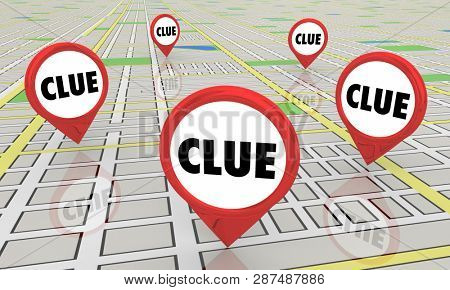 Clues Mysteries Find Answers Map Pins 3d Illustration