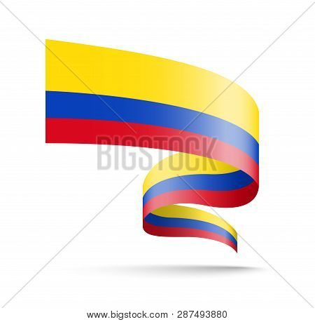 Colombia Flag In The Form Of Wave Ribbon.