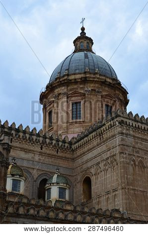 View Of Palermo Cathedral, Metropolitan Cathedral Of The Assumption Of Mary In Sicily