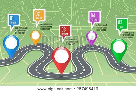 Road Map Concept. Vector Roadmap Information Background With Mapping Highway And Gps Signs, City Way