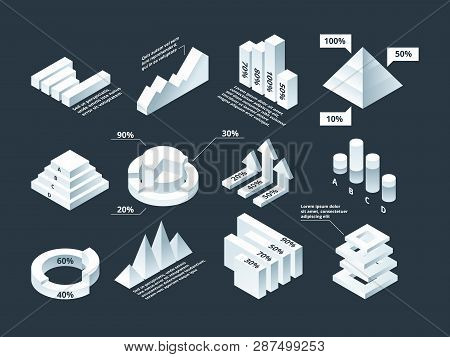 Graphic Isometric. Infographic Business Diagram Charts Stats Shapes Vector Empty Infographic Templat