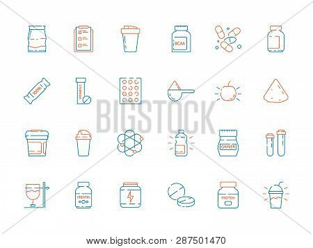 Sport Supplement Food. Fitness Nutrition Pills Protein Shake And Bottles Vector Thin Colored Icons.