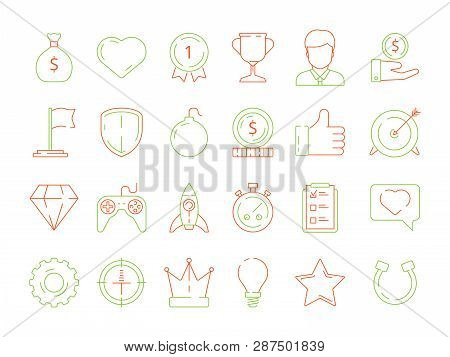 Gamification Icons. Business Achievements Line Icon Set For Competitive Office Managers, Advantage V