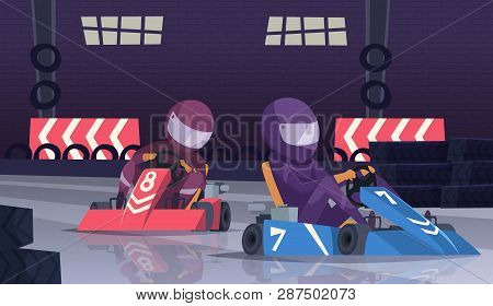Karting Sport Competition. Racers In Helmet In Fast Cars On Speed Track Vector Cartoon Background. I