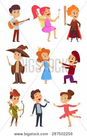 Kid Actors. Theater Performance Of Funny Childrens Boys And Girls In Costume Standing At School Stag