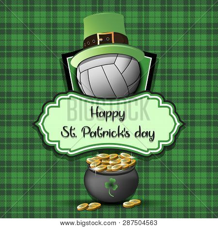 Happy St. Patricks Day. Volleyball Logo Template Design. Volleyball Ball With St. Patrick Hat And Po