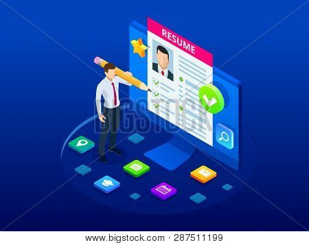 Isometric Man And Cv Resume Documents. Recruiting Advertisement, Job Opportunity. Searching Professi