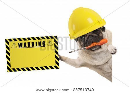 Frolic Construction Worker Pug Dog With Constructor Helmet, Holding Orange Screwdriver And Yellow Wa