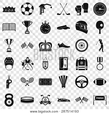 Champion Icons Set. Simple Style Of 36 Champion Vector Icons For Web For Any Design