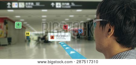 Smart Technology In Industry Mobile 4.0 Or 5.0 Concept , User Use Smart Glasses With Augmented Mixed