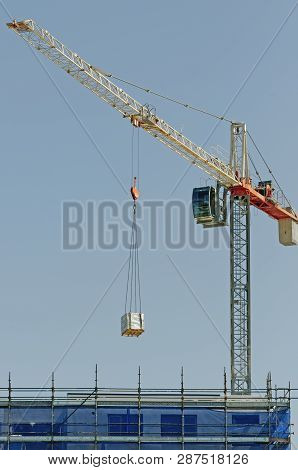 Gosford, New South Wales, Australia - January 14, 2019:  A Working Construction Tower Crane Deliveri