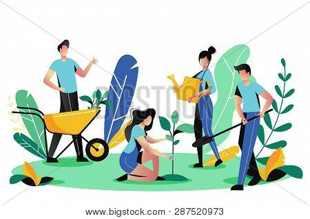 Volunteering, Charity Social Concept. Volunteer People Plant Trees In City Park, Vector Flat Illustr