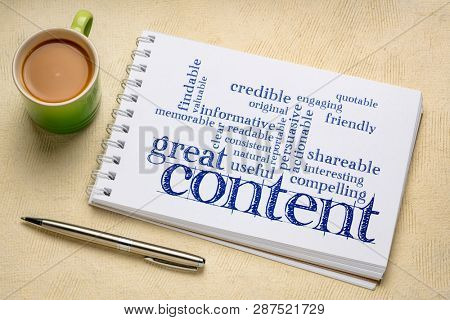 great content writing word cloud in a art sketchbook with a cup of coffee -  business writing and content marketing concept