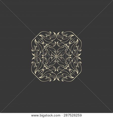 Floral abstract ornament of square shape. Decorative design, Vector graphic elements. Modernist Minimalist Art poster
