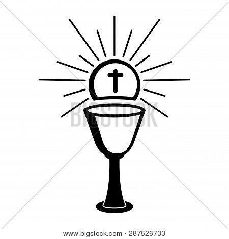 Outline Of A Chalice And Host. Holy Week. Vectot Illustration Design
