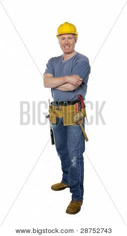 Smiling Construction Worker Full Length On White