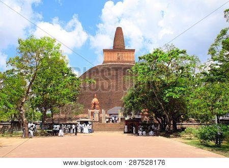 Famous Jetavaranama dagoba stupa (Mahatupa, Big white stupa) in ancient city Anuradhapura, Sri Lanka. UNESCO world heritage site