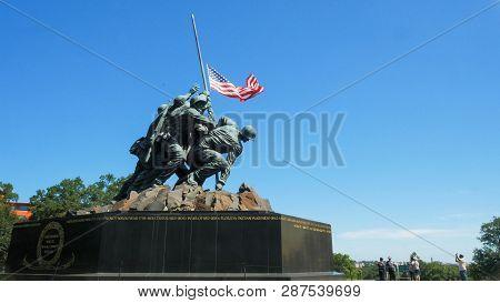 Washington, District Of Columbia, Usa- September 11, 2015: Oblique Medium View Of The Iwo Jima Memor