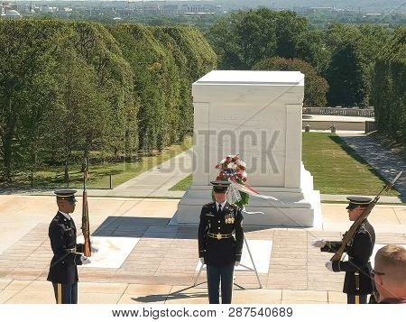 Washington, District Of Columbia, Usa- September 11, 2015: High View Of The Tomb Of The Unknown Sold