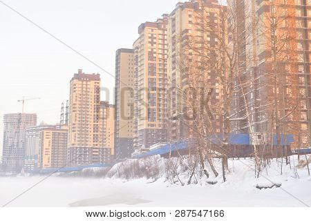 Houses Under Construction On The Outskirts Of St. Petersburg, Microdistrict Ribatskoe, Russia.