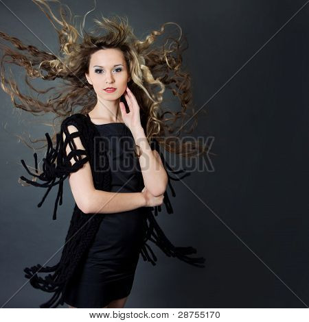 Sensual Young Woman With Long Brown Hair