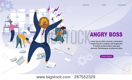 Angry Boss With Lion Head Vector Illustration. Office Workers Metaphor As Animals Web Page Concept W