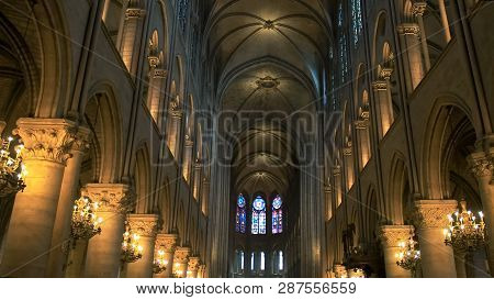 Notre Dame, Paris, France- September 20, 2015: The Nave Of Notre Dame Cathedral, Paris
