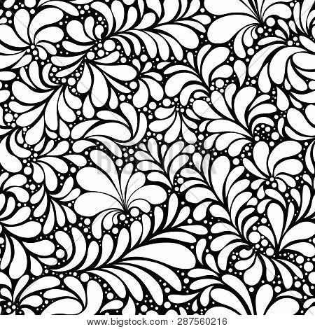 Italian Wedding Hand Drawn Seamless Pattern. Damask Ink Pen Texture. Buta Sketch Drawing. Teardrop F