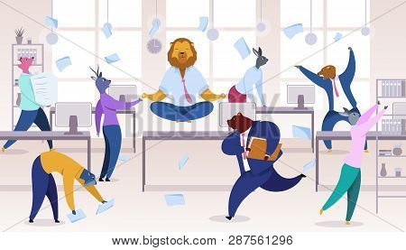 Office Workers With Animals Heads Vector Clipart. Metaphor Of Workers As Lion, Bear, Fox, Rabbit, De
