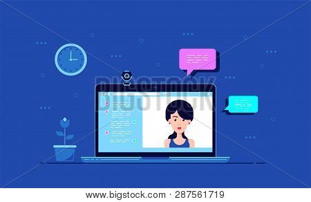 Picture Of Computer Monitor With Online Conference Application Interface, Web Camera And Woman Portr