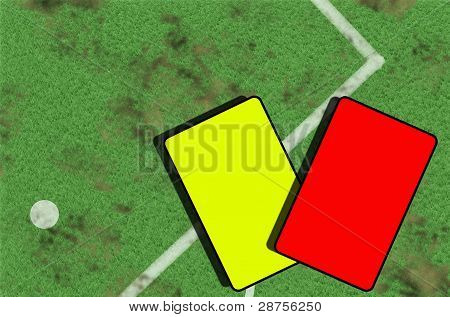 Part Of Soccer Football Field And Cards