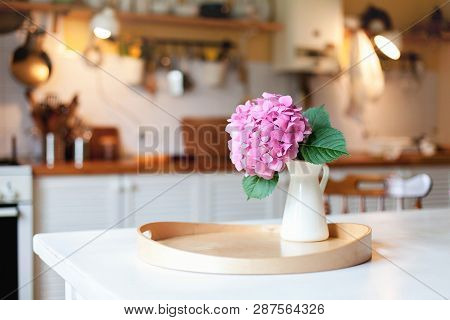 Pink Hydrangea Flower On Wooden Serving Tray. Morning Kitchen Scene. Cozy Home Atmosphere Hygge. Spr