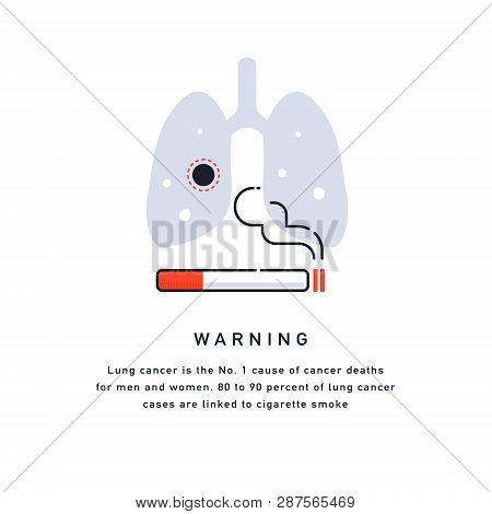 Cigarette Cancer Concept, Vector Flat Illustration, Smoker's Lungs Cigarettes Kill Template Isolated
