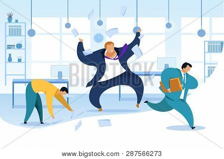 Work Rush, Office Chaos, Flat Vector Illustration. Busy Office Workers Fussing. Nervous Employer. An