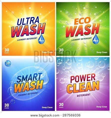 Detergent Packaging Concept Design Showing Eco Friendly Cleaning And Washing. Detergent Package With