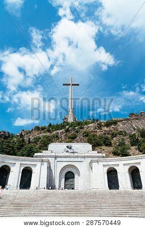 San Lorenzo De El Escorial, Spain - July 7, 2018: Valle De Los Caidos Or Valley Of The Fallen. It Wa