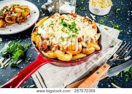 Baked Creamy Pasta Casserole, Mac And Cheese With Minced Meat, Italian Ground Beef Bolognese Cassero