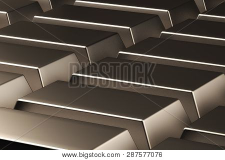 3d Rendering. Gold Bars On The Plane. Background Of Gold Bars. Gold Laid Out On The Plane. Gold In A