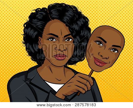Color Vector Pop Art Style Illustration. African American Girl With A Fake Face. Dark Skinned Girl H